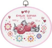 Broderikit til baby fødselstavle Emilia Sofia