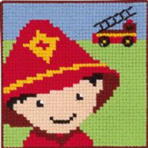 Børnebroderi med brandmand