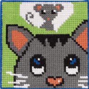 Børnebroderi med kat og mus