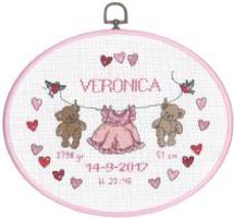 Broderikit til baby fødselstavle Veronica