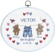 Broderikit til baby fødselstavle Victor