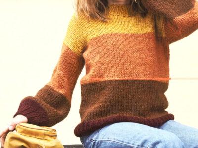 Strikkeopskrift på stribet sweater til børn