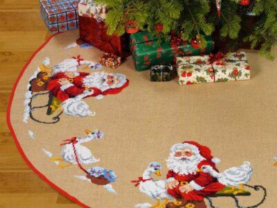 Juletræstæppe Maxi Nisse og gæs