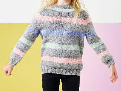 Stribet strikket barnesweater