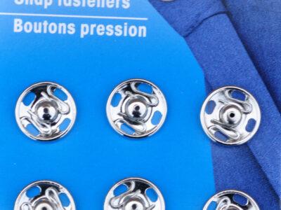 Tryklåse og trykknapper sølv 13 mm