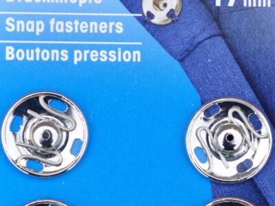 Tryklåse og trykknapper sølv 17 mm