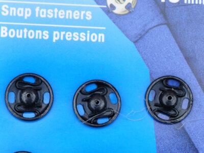 Tryklåse og trykknapper sort 13 mm