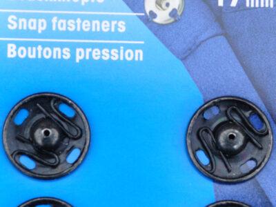 Tryklåse og trykknapper sort 17 mm