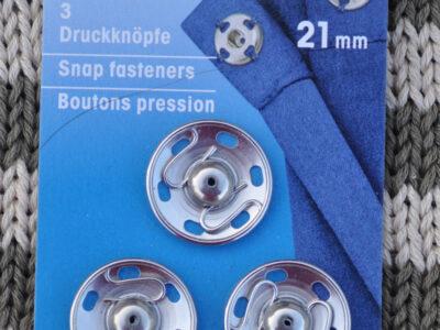 Tryklåse og trykknapper sølv 21 mm