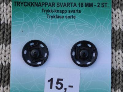 Tryklåse og trykknapper sort 18mm