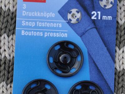 Tryklåse og trykknapper sort 21 mm